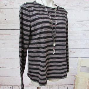 Anne Klein Striped Top, Black/Gray, L, NEW